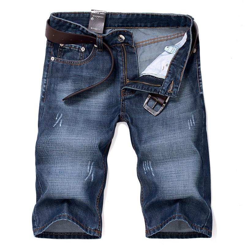 2017 new summer style men short denim jeans Mens casual fashion slim straight short jeans Men high quality blue straight jeans
