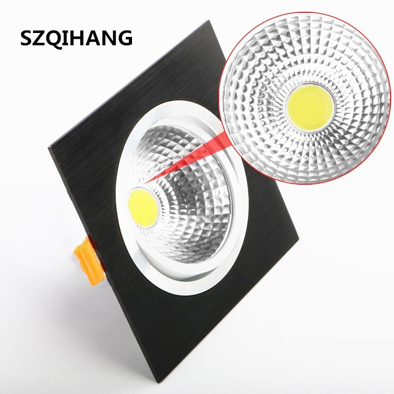 High Quality Square Recessed led down light 10w 15w 20w COB LED Spot Lamp Dimmable Adjustable Ceiling Downlight 110v/220v/230v LED Downlights     - title=