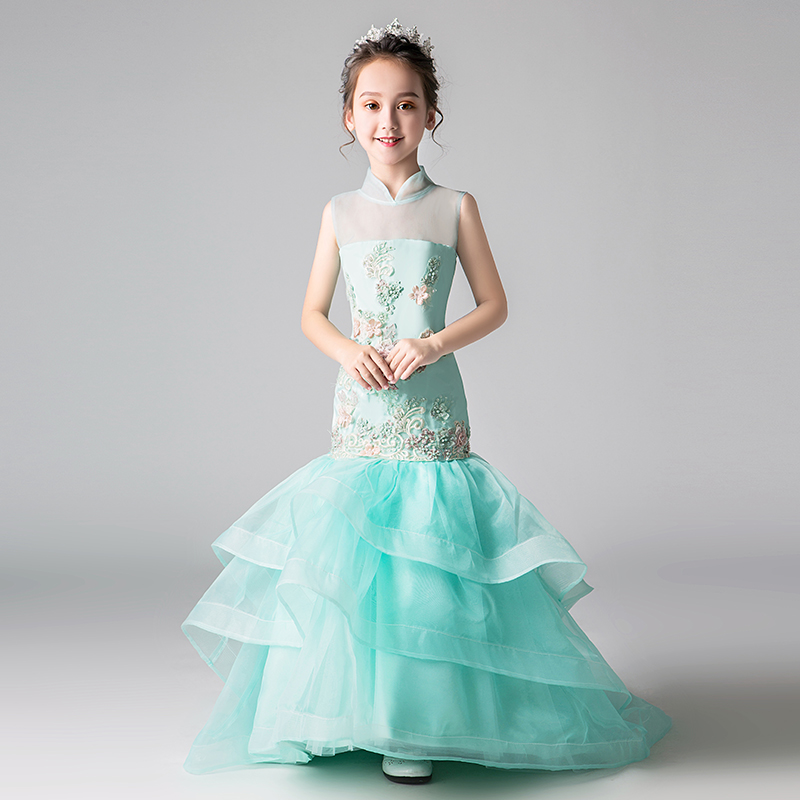 Luxury Mermaid Flower Girl Dresses for Wedding Larered Trailing Stand Collar Chinese Style Kids Pageant Dress for BirthdayLuxury Mermaid Flower Girl Dresses for Wedding Larered Trailing Stand Collar Chinese Style Kids Pageant Dress for Birthday