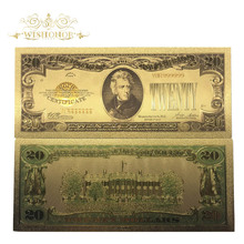 10pcs/lot 1928 Year America Banknote 20 Dollar in 24k Gold Plated Fake Money Metal Crafts For Gifts And Collection