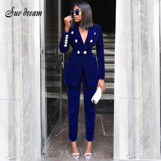 2018 חדש נשים של יוקרה כהה כחול קטיפה ארוך שרוולים קריסטל יהלומי אבזם jacket & מכנסיים 2 חתיכות שני -חתיכה אופנה מעיל