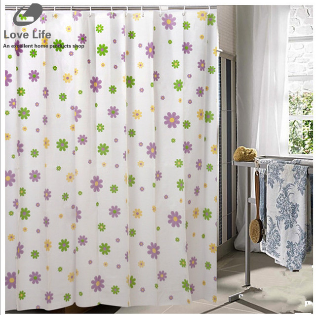 Home Decor Bathroom Shower Curtain Waterproof Moldproof Polyester Fabric With Hooks Elegant White Cortina