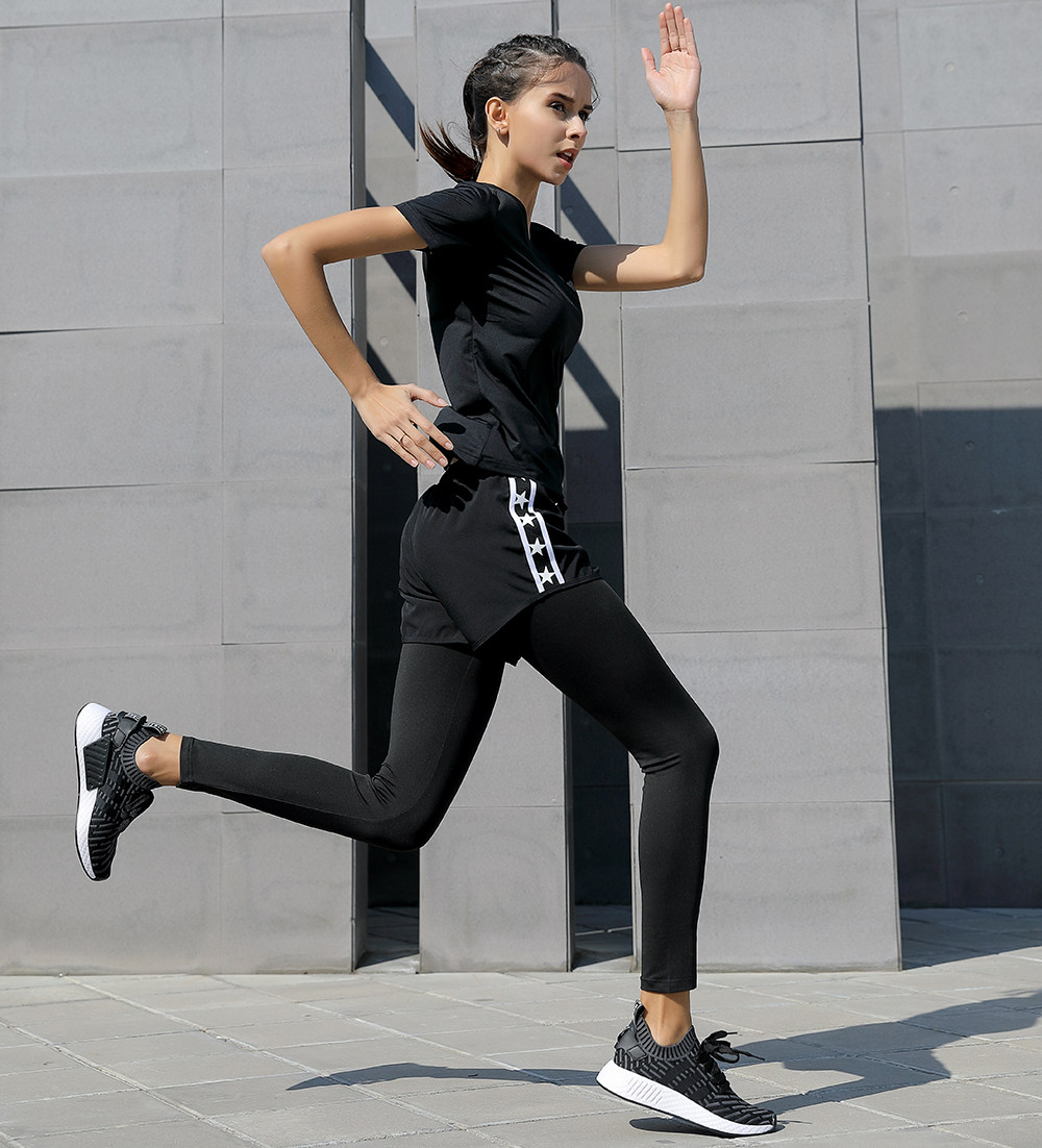 Women Yoga Sport Suits Quick Dry Neck Solid Color Slim Shirt + Running shorts 2 in 1 Tight Patchwork Full Length Leggings Pants