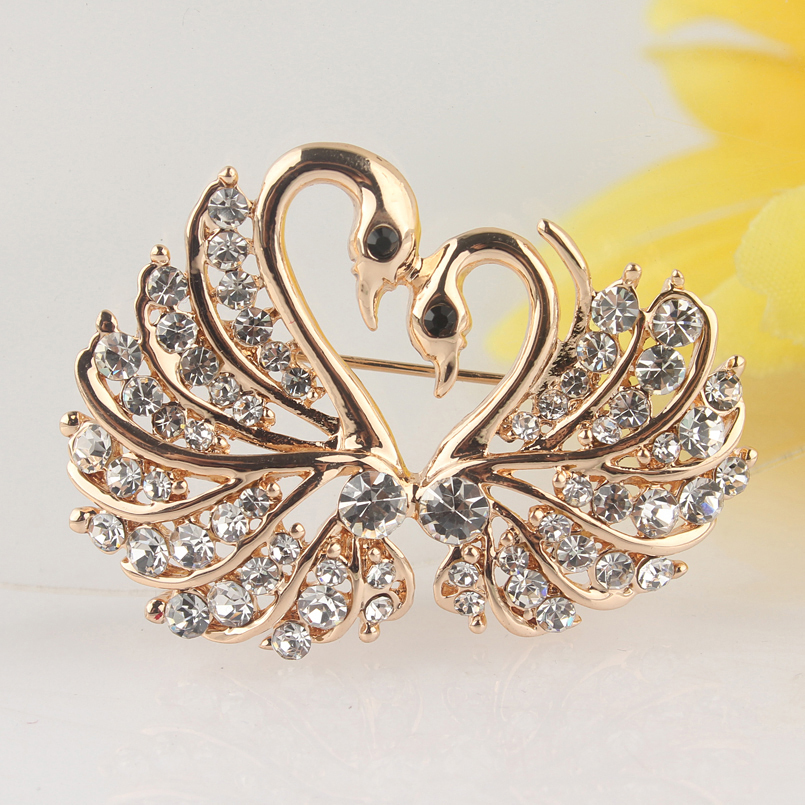 Schmucksets & Mehr Broschen Liberal Trendy Neue Frauen Gold Farbe Klar/champagne/rosa Schwan Österreichischen Kristall Brosche Pin Fancy Delicate Brosche