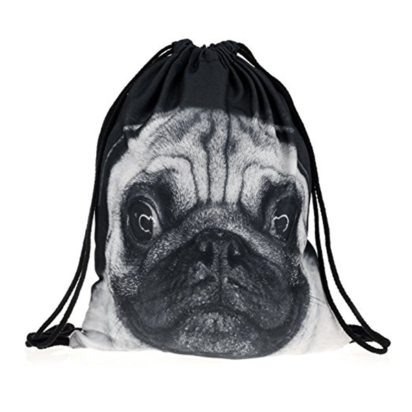 Pug Printing Teenage Drawstring Bag Shoulder School  Rucksack Handbag Travel Gym