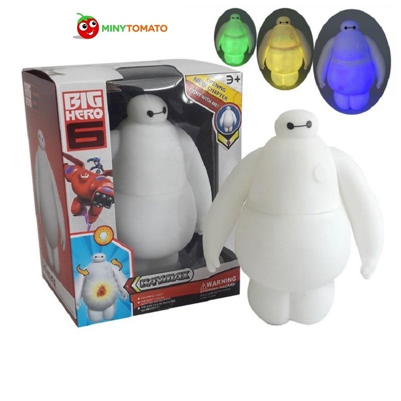Marvel <font><b>Anime</b></font> <font><b>Big</b></font> <font><b>Hero</b></font> <font><b>6</b></font> Baymax Money Box Pot <font><b>Action</b></font> <font><b>Figures</b></font> Baymax <font><b>With</b></font> Light Toy 3 Light Color Robot Classic Toys for Children