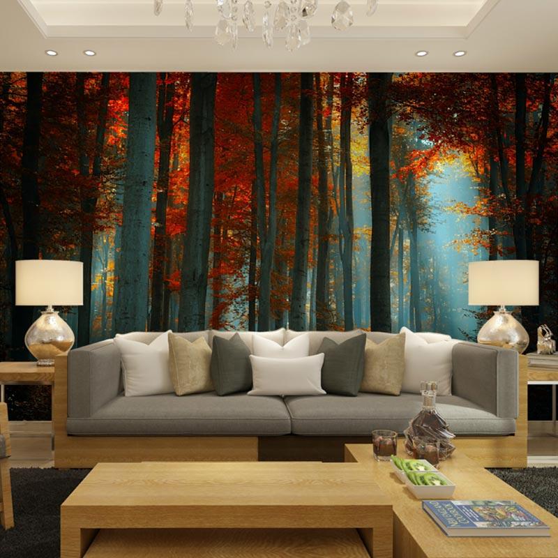 Popular birch tree wallpaper mural buy cheap birch tree for Tree wallpaper living room