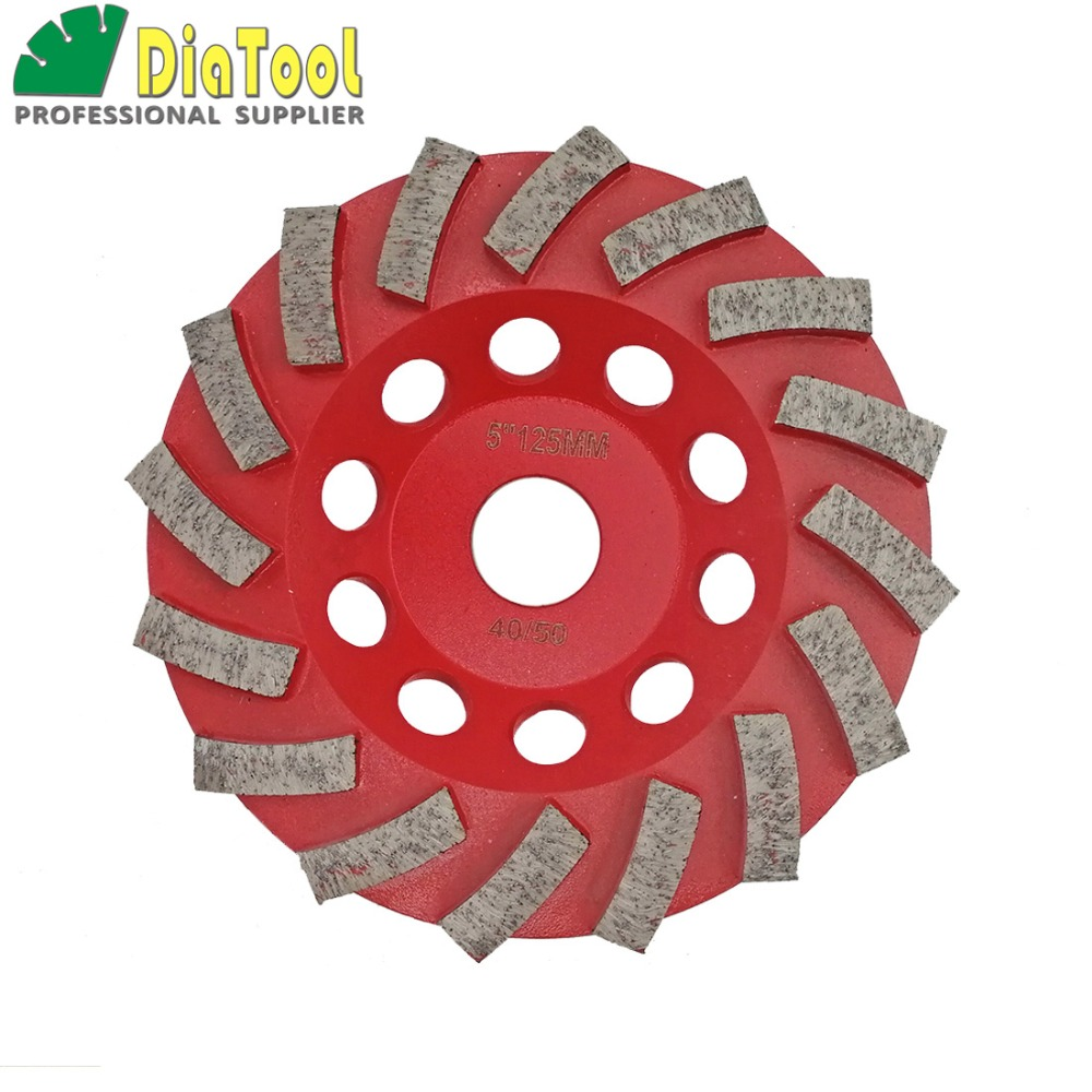 DIATOOL Dia 5/125mm Diamond Grinding Cup Wheel For Concrete, 5 Inch Grinding Disc, Segmented Turbo Type Diamond Wheel