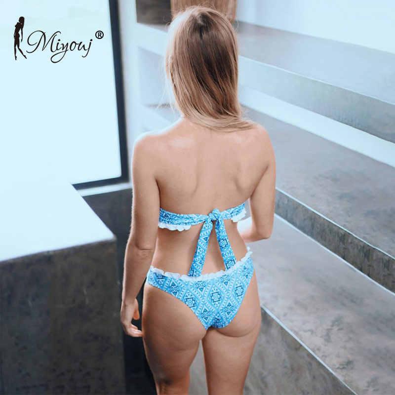 Miyouj Sexy Bandeau Bikini wzburzyć Push Up String strój kąpielowy kobiety bandażowy strój kąpielowy off ramię strój kąpielowy Hollow Out Biquinis