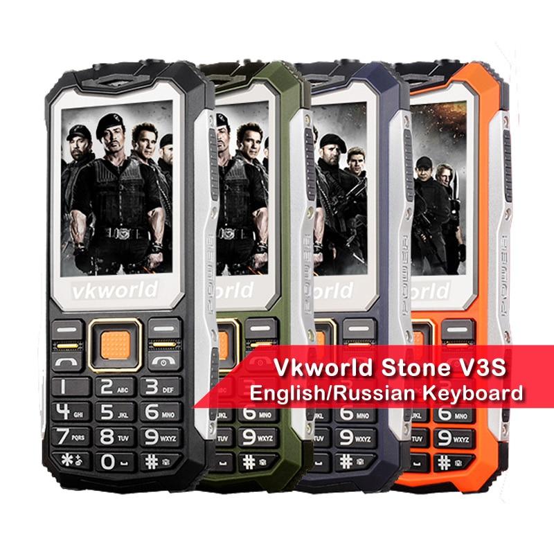 Russian Keyboard VKWorld Stone V3S 2 4 inch Waterproof Dropproof Dustproof Mobile Phone Dual LED Light