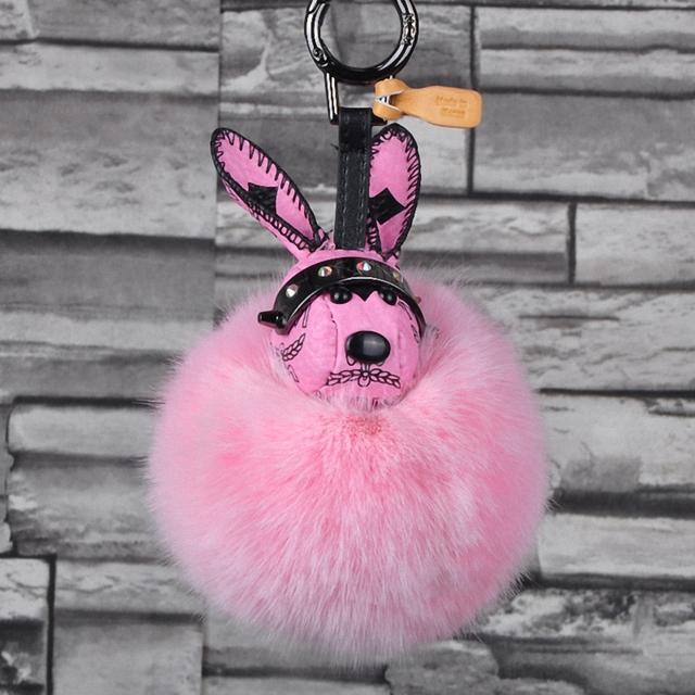 De cuero de Conejo de Juguete Mullido Pompón de Piel de Zorro Llavero Bolsas Hanger Charms Llavero Para Las Mujeres Llavero Porte Clef FourrureFo-K026-pink