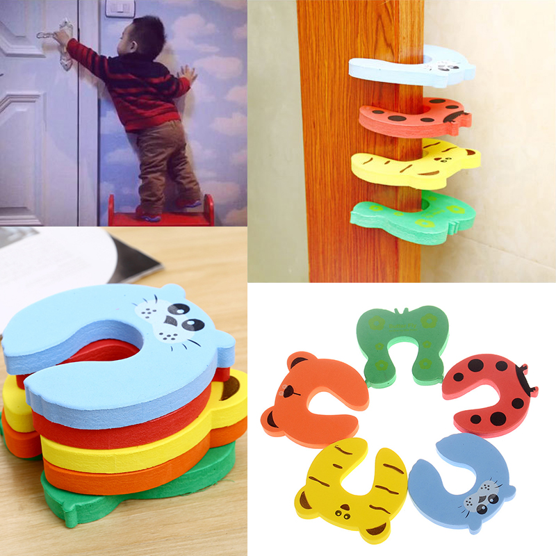 5pcs Random Protection Baby Safety  Card Door Clamp Door Stop Stopper Cute Nontoxic Environmental Finger Protector Pinch Guard