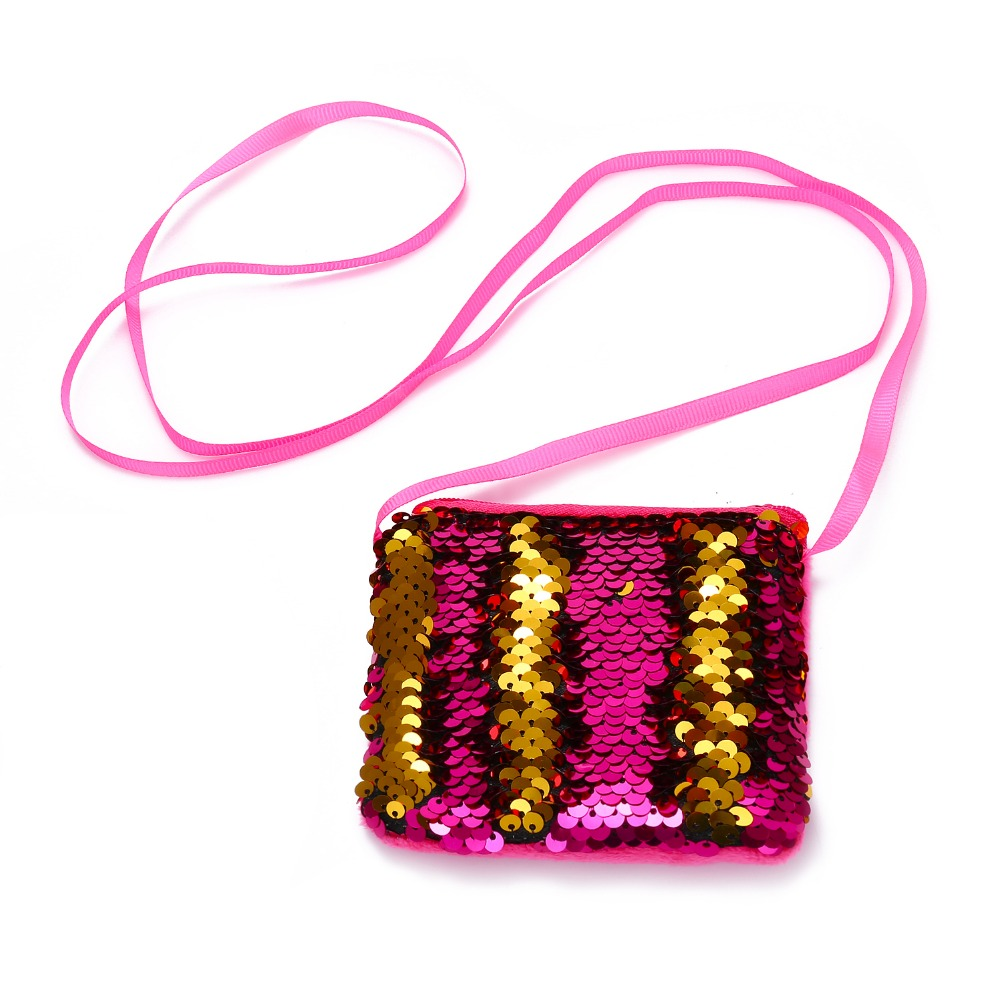 Mermaid Sequins Mini Crossbody Bags For Baby Girls Fashion Cute Glitter Messenger Handbag Kids Coin Purse Pocket Money Bag new korea style fashion handbag cute kids children fashion brand princess party crossbody bag with gold chain for baby girls