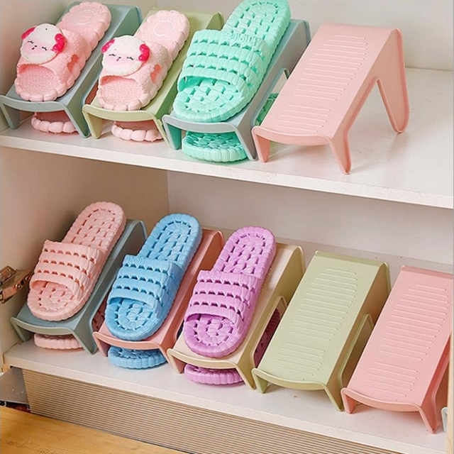 Fashion Plastic Shoe Rack Stand Save Space Shoes Cabinet Shoes Storages Rack Brief Shelf for Shoes Beige Blue Green Pink H06