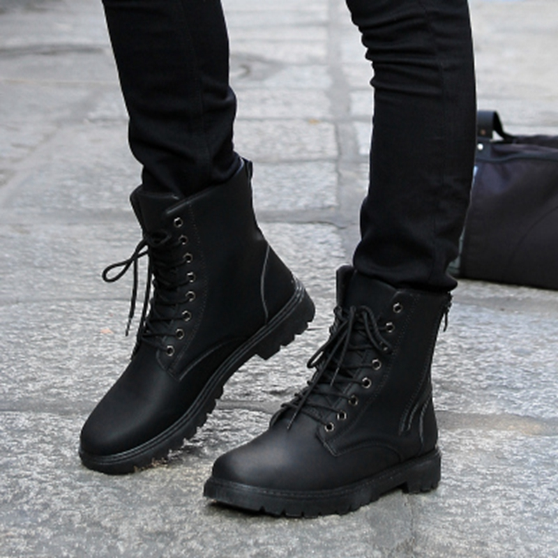2018 Spring Men S Leather Shoes Fashion Black Martin Boots