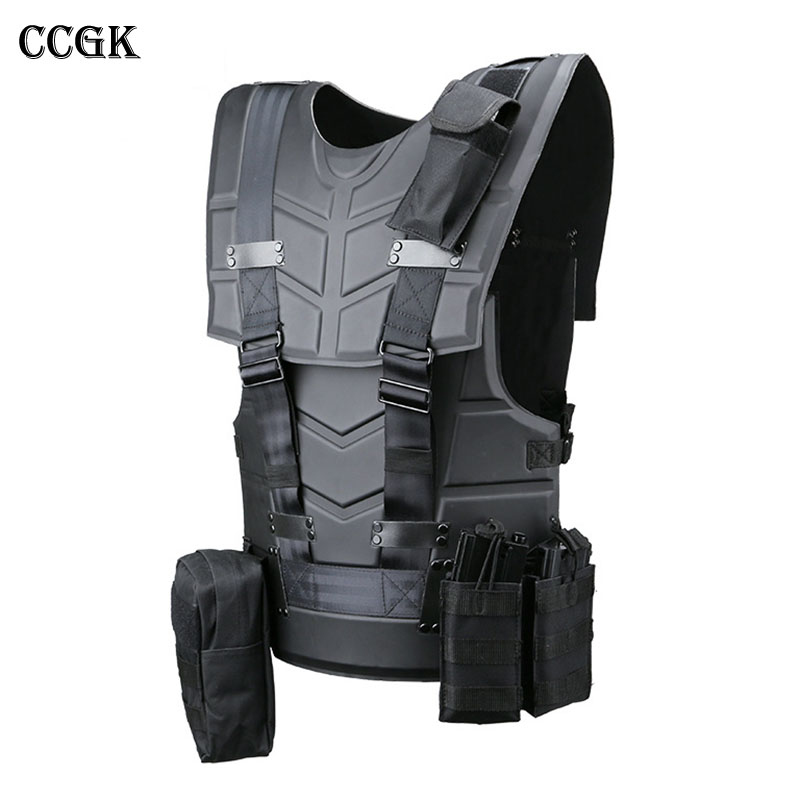 CCGK Tactical Vest Multi-functional Tactical Body Armor Outdoor Airsoft Paintball Training CS Protection Equipment Molle Vests airsoft adults cs field game skeleton warrior skull paintball mask