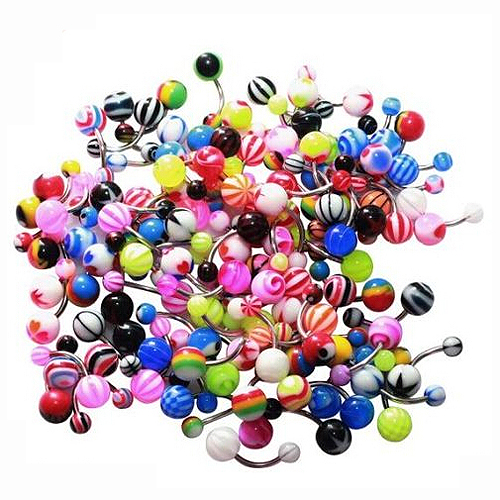 100 Pcs Colorful Ball Bar Navel Bell Button Rings For -7787