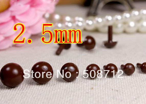 Free shipping!!!!300pcs mini 2.5mm brown Plastic Safety Pin Eyes Stuffed Wool Felted Animals Dolls/brown eyes beads