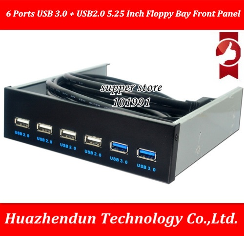L 6 Ports USB 3.0 + USB2.0 5.25 Inch Floppy Bay Front Panel With Power Adapter USB 3.0 Hub Spilitter 2Ports usb3.0 4Ports ubs2.0 for floppy bay 20 pin 3 5 front panel 2 ports usb 3 0 expansion adapter connector z09 drop ship