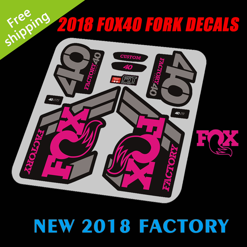 2018 fox40 factory bike fork replacement stickers mtb mountain bike bicycle front fork decoration vinyl protection decals in bicycle stickers from sports