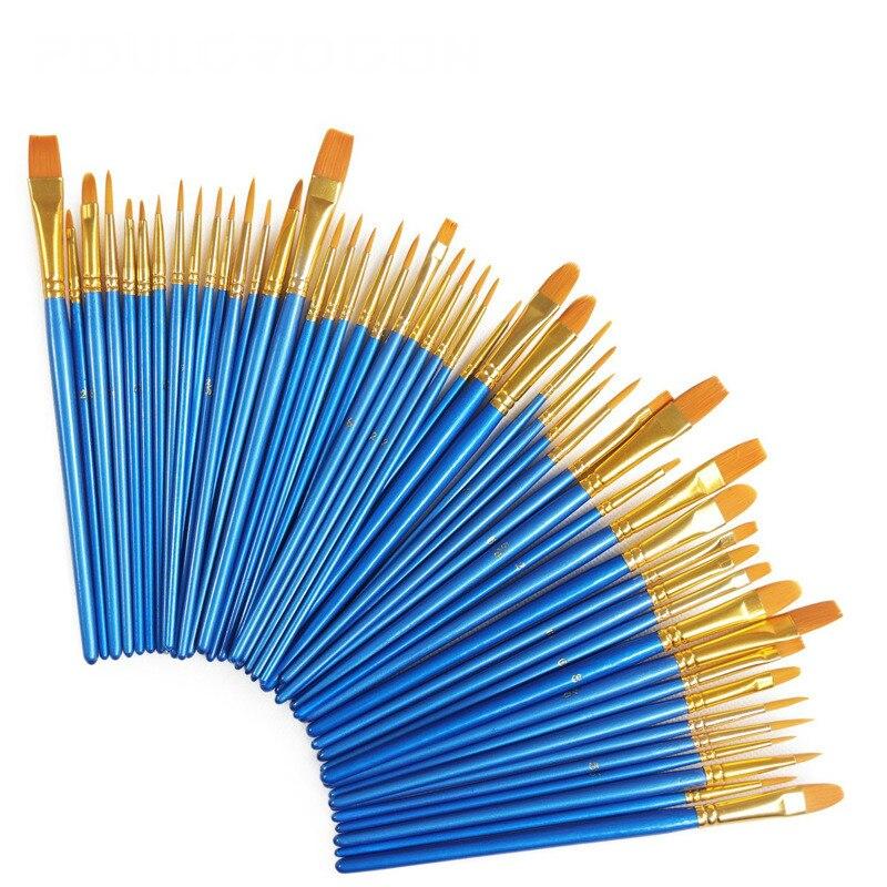 10 pcs/ensemble Aquarelle Gouache Peinture Pinceaux Différents Forme Nylon Cheveux Manche En Bois Peinture Brush Set Art Fournitures