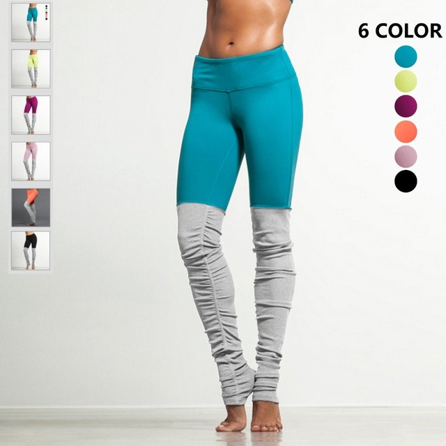 f35ca6ad77bb4 JIGERJOGER Women's Yoga Pants Plus Size 6 Neon colors Water Blue VS Light  Grey Patch wrinkled Tight Running Dancing Leggings