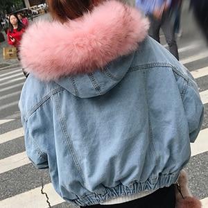 Image 5 - ผ้าฝ้าย DENIM แจ็คเก็ตผู้หญิง FUR Trim Hood PLUS ขนาดลง Parkas เสื้อโค้ทหญิงเดี่ยว Breasted DENIM Outover Coat ฤดูหนาว
