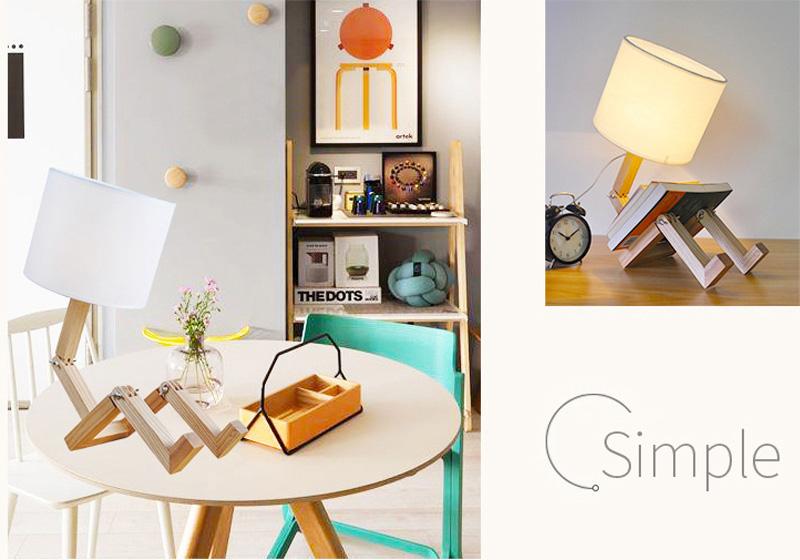 Nordice Modern Creative Gifts Foldable Robot Desk Table Lamps Wooden Base Table Lamp Bedside Reading Desk Lamp Home Decor Light Fixture (6)