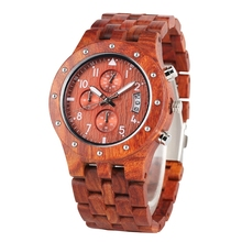 Chronograph Wooden Watch Men erkek kol saati Top Luxury Fashion Redwood Timepiec