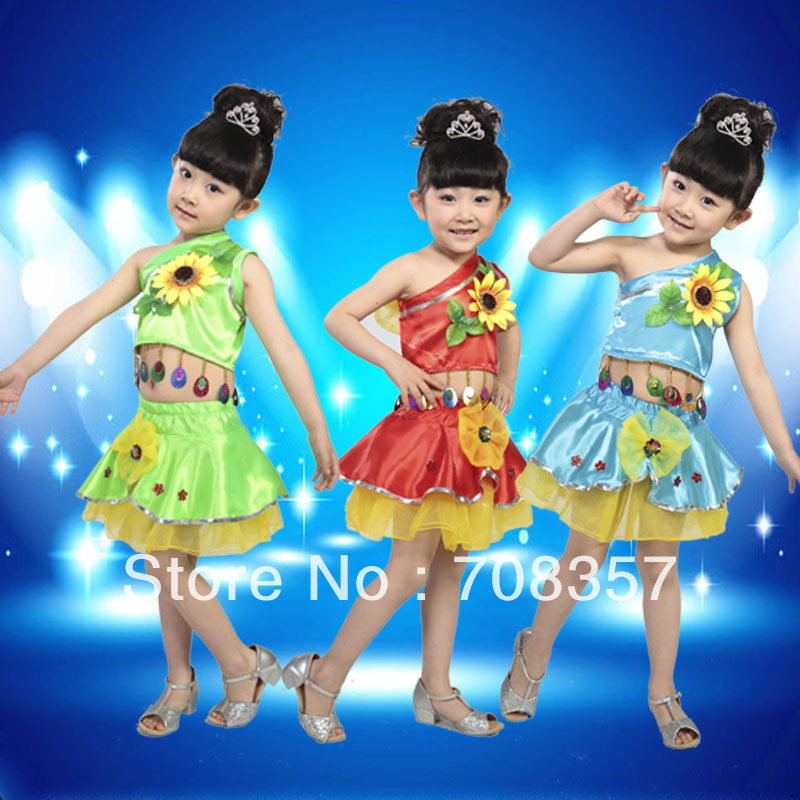 Children's Fancy Costumes Flowers Dance Suit Skirt And One shoulder Top Set /Kids Ballroom Performance Wear