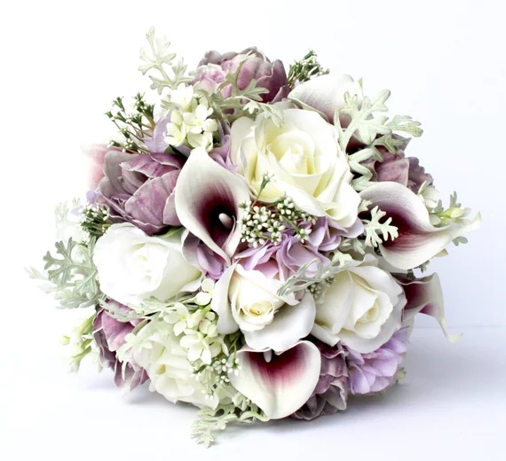 Peony Bridal Bouquet Silk Wedding Flowers Blush Wedding Flowers Purple Wedding Bridal Bouquet Real to Touch