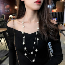 цена на Fashion Jewelry Double Layer Simulated Pearl Necklace&Pendant For Women Ladies Sweater Chain Necklace