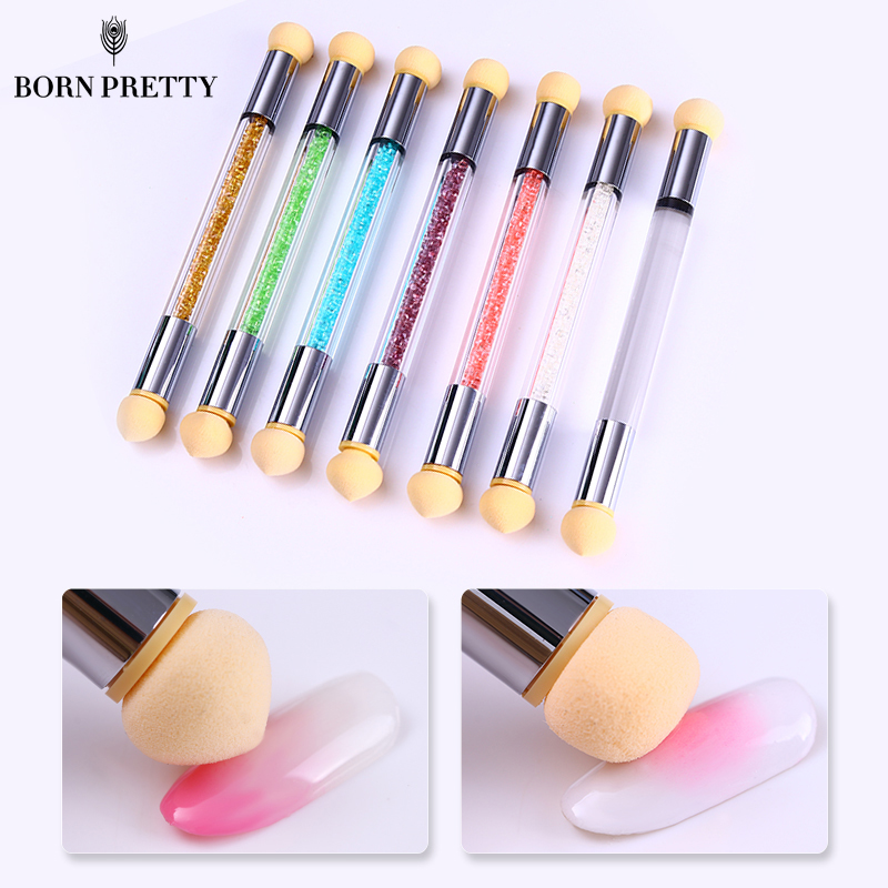 1 Pc Double-ended Sponge Nail Brush Gradient Shading Pen Dotting Head Rhinestone Handle Nail Art Tool Manicure Accessories