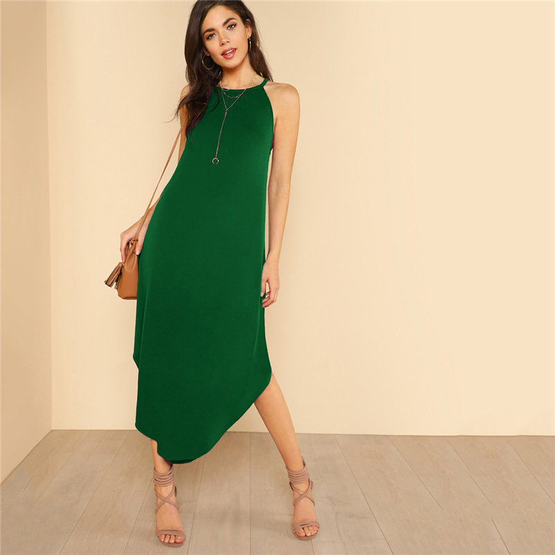 COLROVIE Keyhole Back Halter Curved Hem Party Dress 2018 New Green Loose Sleeveless Summer Dress Halter Shift Long Women Dress 5