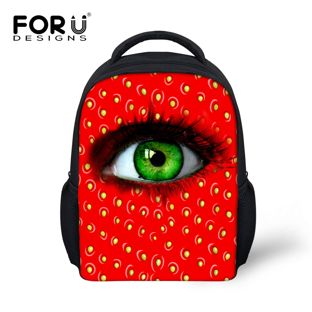 Pretty big eyes pupil printing pink red backpack for baby girls mochila infantil kids back pack child mini bags bagpack escolar