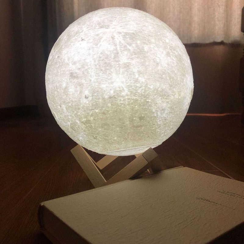 USB перезаряжаемая 3D печать луна лампа 2 сенсорный цветной Настольный фонарь-ночник украшение подарок Креативный blub светильник заряжаемый