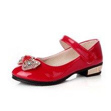 b8f557d35b JGSHOWKITO charol niñas zapatos otoño nueva moda princesa niña grande tacón  alto Rhinestone Bowtie negro rosa roja de la boda