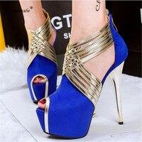 Shoes Women Buckle Sandals Large Size US11 12 13 Ladies Peep Toe Stilettos 14cm Thin High