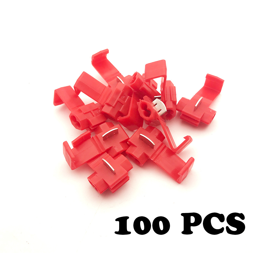 200 pcs 22-18 AWG QUICK DISCONNECTS 100 FEMALE RED SPADE CONN. MALE // 100