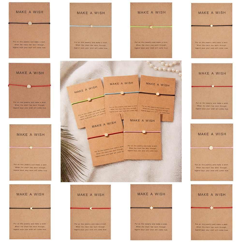 願い事紙カード調節可能なブレスレット蝶スタークラウンラウンド織のブレスレットシンプルなファッション女性ジュエリーギフト