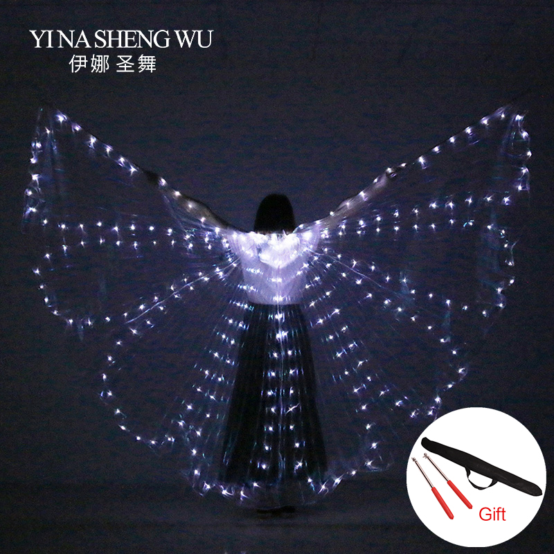 Colorful Belly Dance Performance LED Butterfly Wings Dance Accessories Women ISIS Wings LED Butterfly Wings With Sticks/Wing Bag