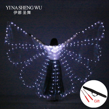 Colorful Belly Dance Performance LED Butterfly Wings Accessories Women ISIS With Sticks/Wing Bag