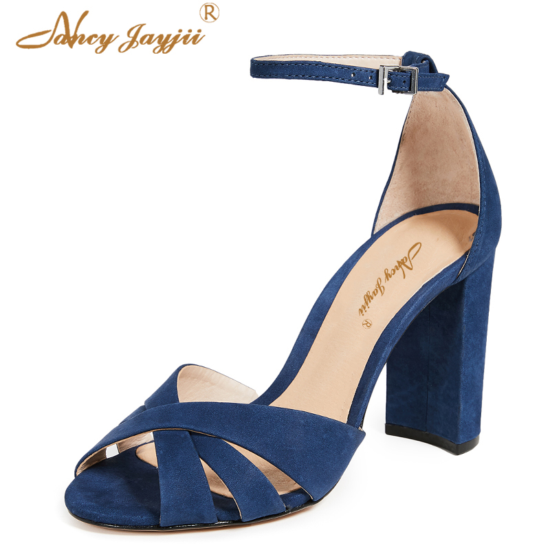 2019 Summer Blue Young Girl Fashion Sandals Ankle Wrap Ladies Shoes Buckle  Leisure Square Heels Super High Casual Dress Party -in High Heels from Shoes  on ... aceb2edd93f5