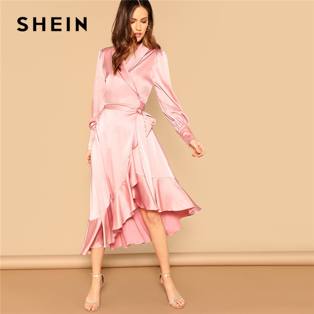 54e9eba02c SHEIN Pink Shawl Collar Ruffle Dip Hem Wrap Belted Fit and Flare Long Party  Dress Women Spring Bishop Sleeve Solid Satin Dresses