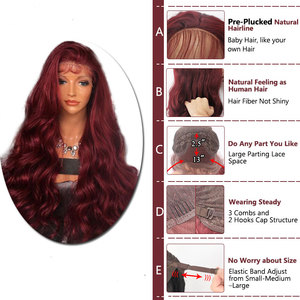Image 4 - Bombshell Wine Red Body Wave Hand Tied Synthetic Lace Front Wig Heat Resistant Fiber Natural Hairline With Baby Hair For Women