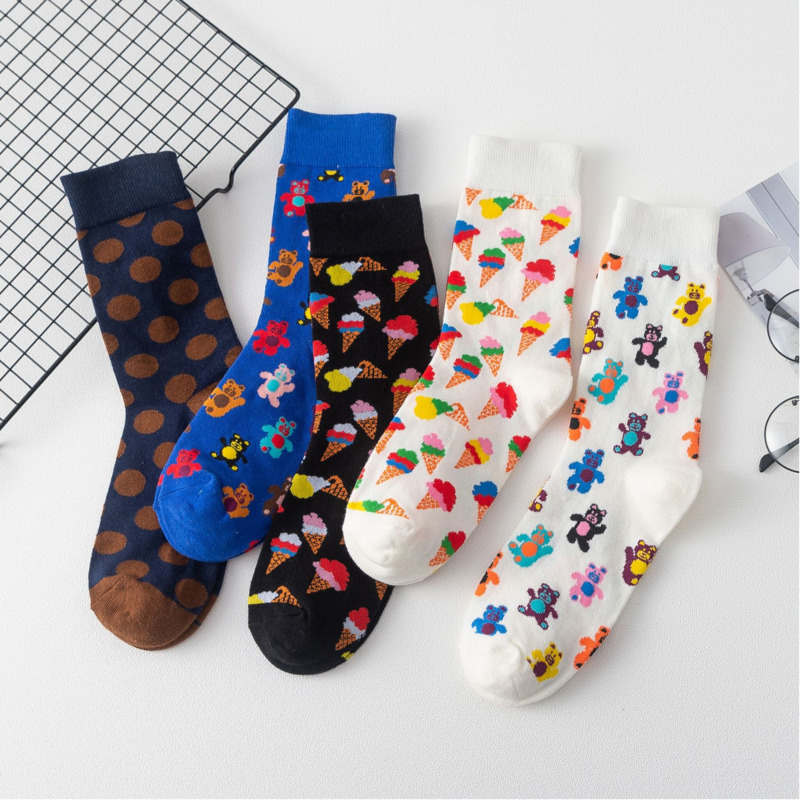 PEONFLY Women Cartoon Bear Ice Cream Cotton Socks Art Female Pattern Short Cute Socks Kawaii Fashion Animal Print Happy Socks