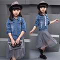 2016 spring new Korean girls cowboy suit including wear jeans and skirt long sleeved denim yarn splicing free shipping NO.30