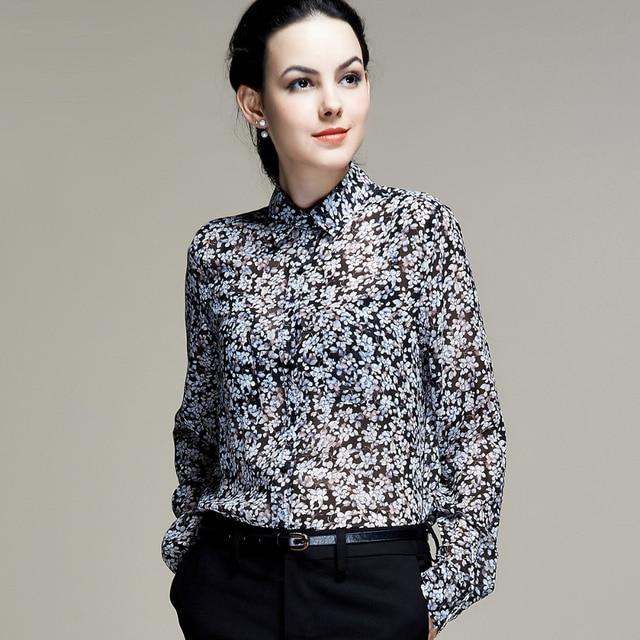 0d155fe61d4 Шелковая шифоновая рубашка 100% чистый шелк шифон блузки женские рубашки  офисные рубашки оптом Бесплатная доставка
