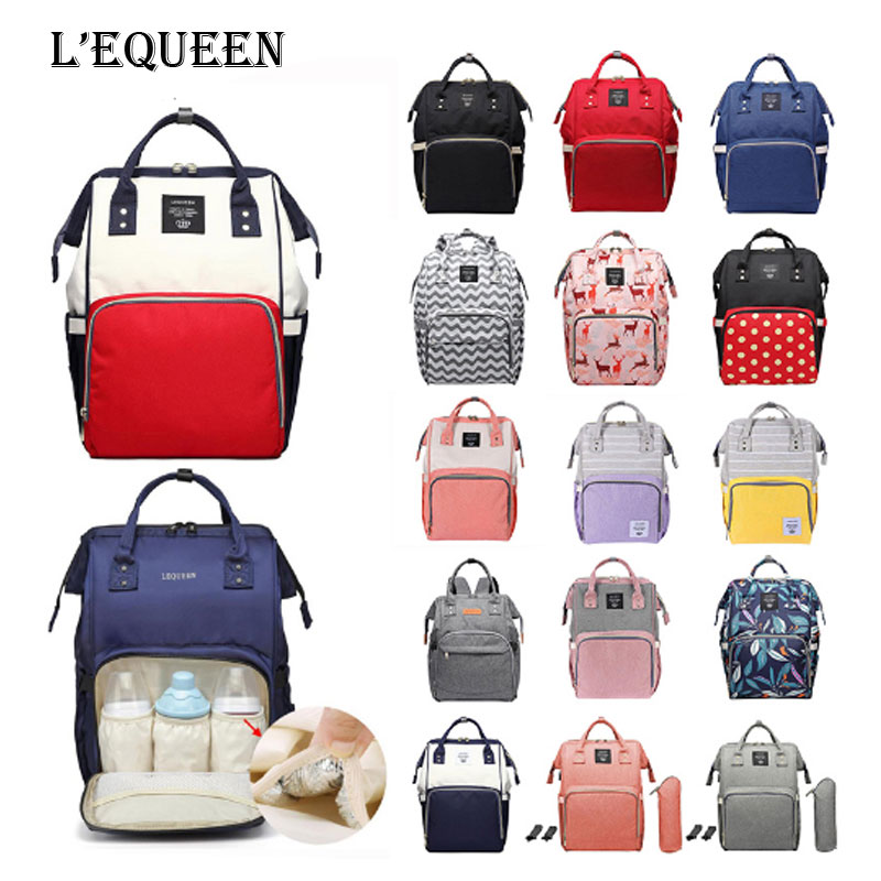 LEQUEEN Mummy Diaper Bag Large Capacity Waterproof Travel Shopping Bag Baby Nappy Changing Care Stroller Organizer Backpack