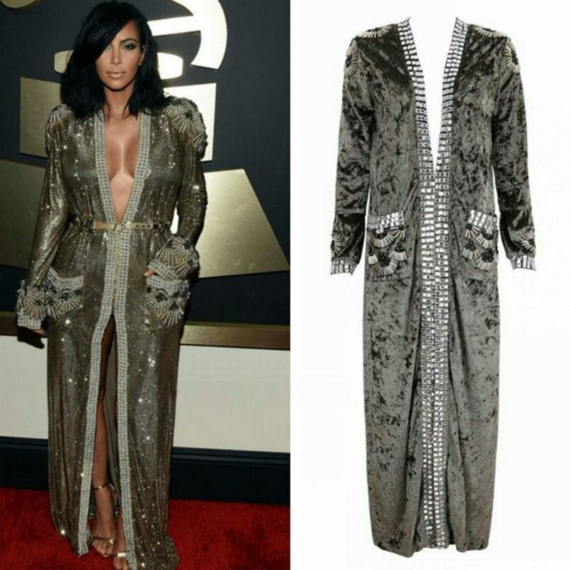 Kim Supérieure Robe Automne Piste Manteau Célébrité Sexy Long De Soirée Qualité Mode 2017 Femmes Kardashian Manteaux HT7qxHIw